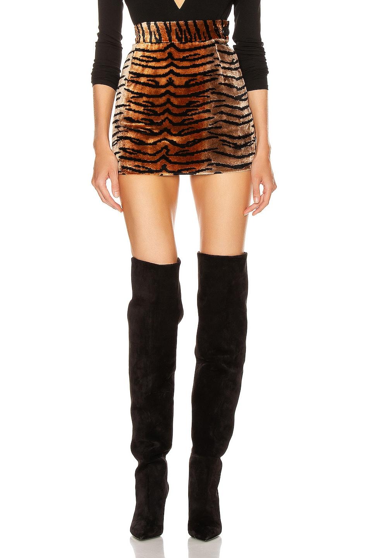 Image 1 of ATTICO Tiger Velvet Mini Skirt in Natural