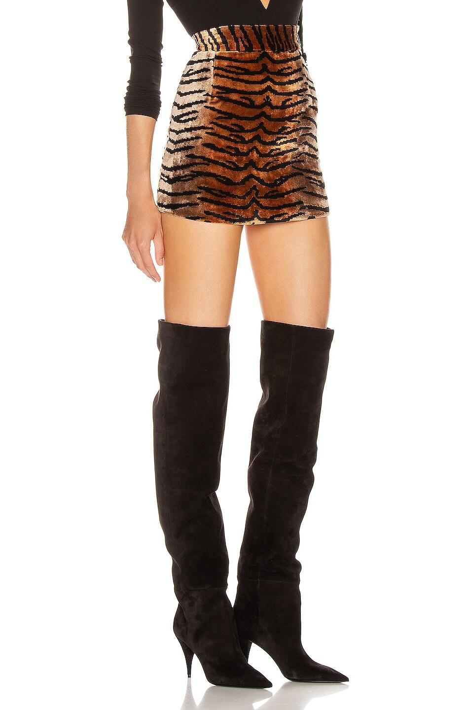 Image 2 of ATTICO Tiger Velvet Mini Skirt in Natural