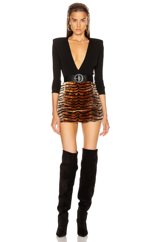 Image 4 of ATTICO Tiger Velvet Mini Skirt in Natural