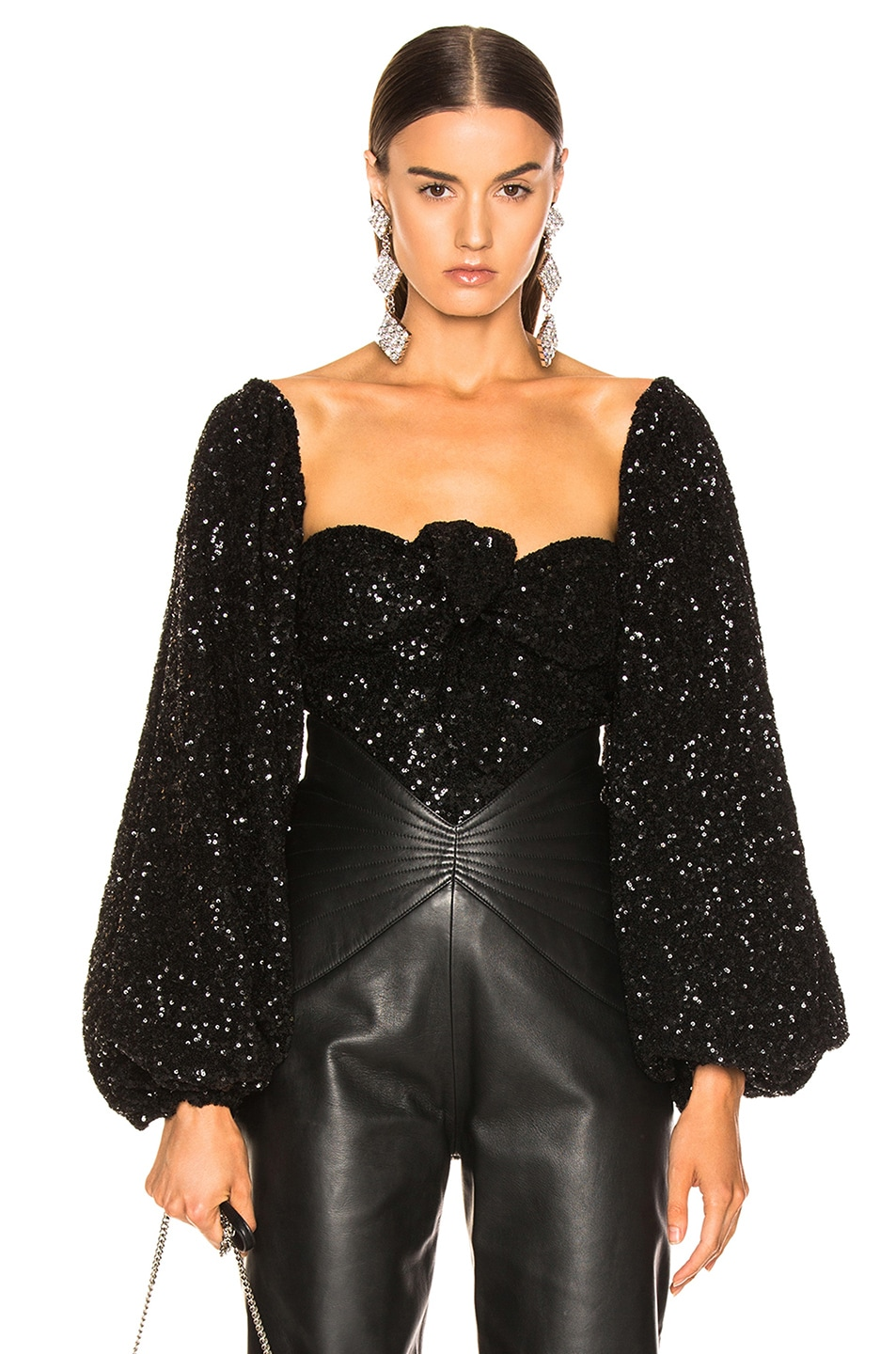 Image 1 of ATTICO Balloon Sleeve Sequined Blouse in Black