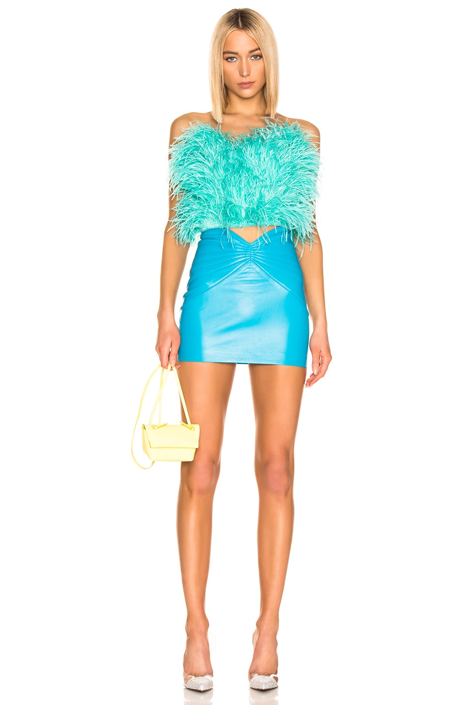 Image 4 of ATTICO Ostrich Feather Strapless Top in Mint