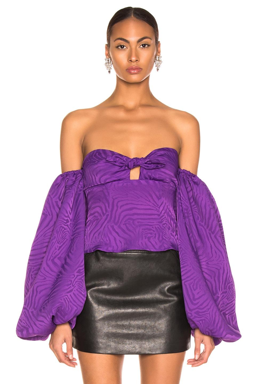 Image 2 of ATTICO Zebra Jacquard Blouse in Violet