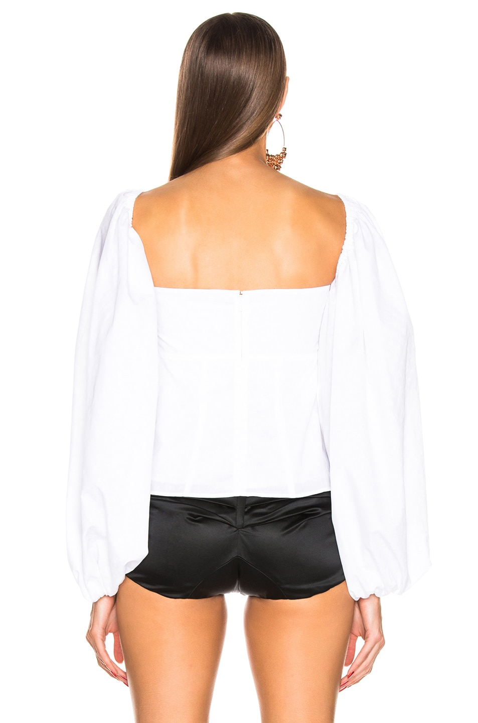 Image 4 of ATTICO Jacquard Balloon Sleeve Blouse in White