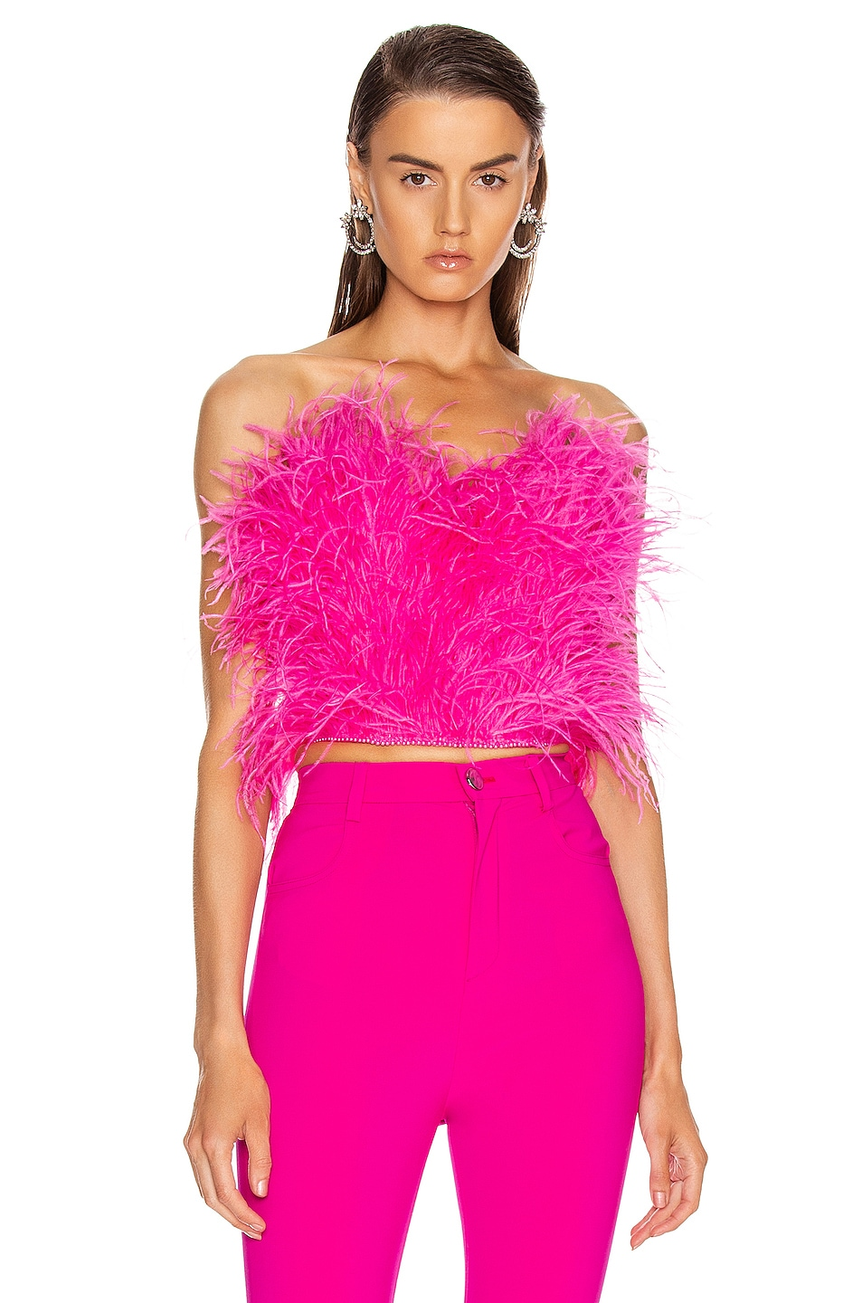 Image 1 of ATTICO Ostrich Feather Embroidered Top in Fuchsia