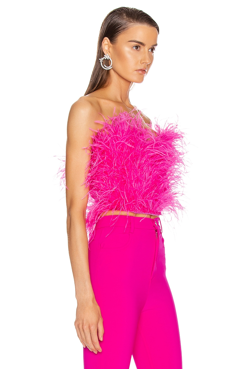 Image 2 of ATTICO Ostrich Feather Embroidered Top in Fuchsia