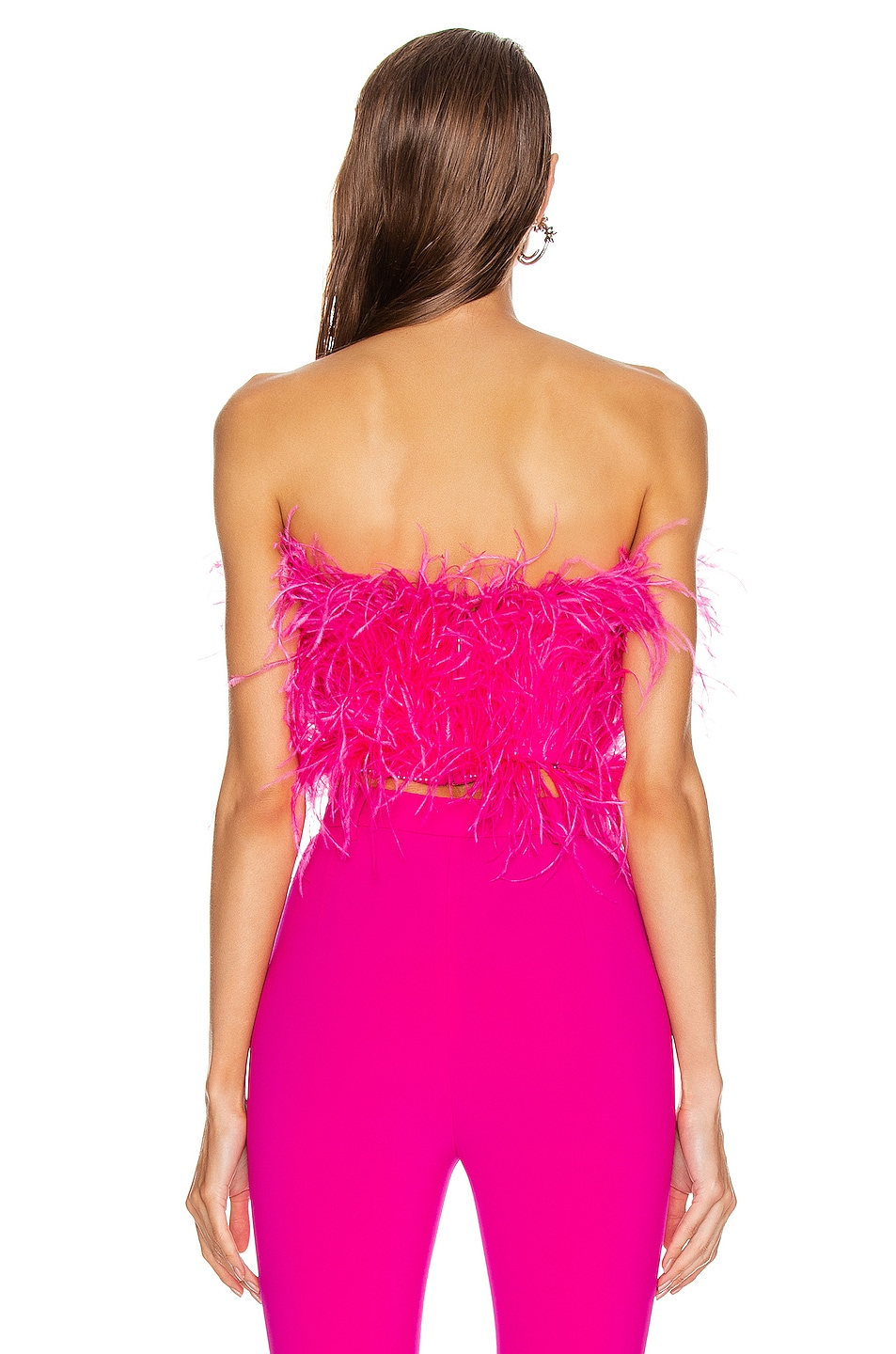 Image 3 of ATTICO Ostrich Feather Embroidered Top in Fuchsia
