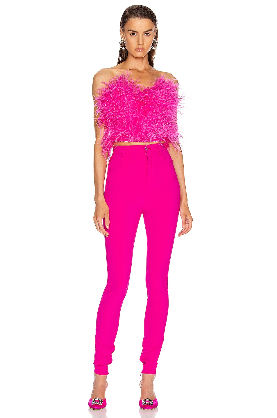 Image 4 of ATTICO Ostrich Feather Embroidered Top in Fuchsia