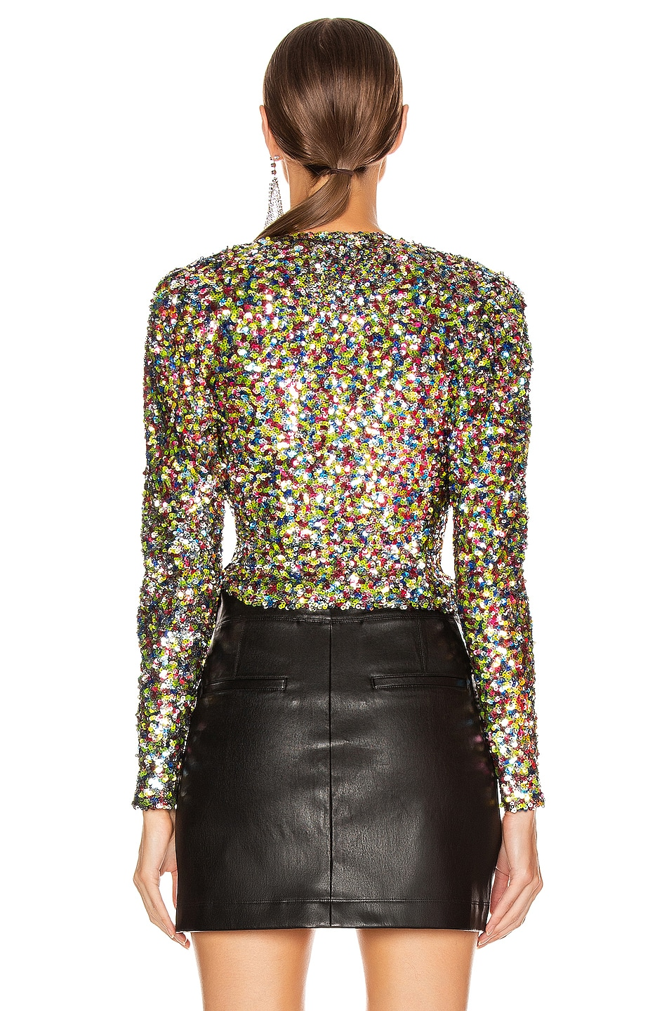 Image 4 of ATTICO Sequin Wrap Top in Multicolor