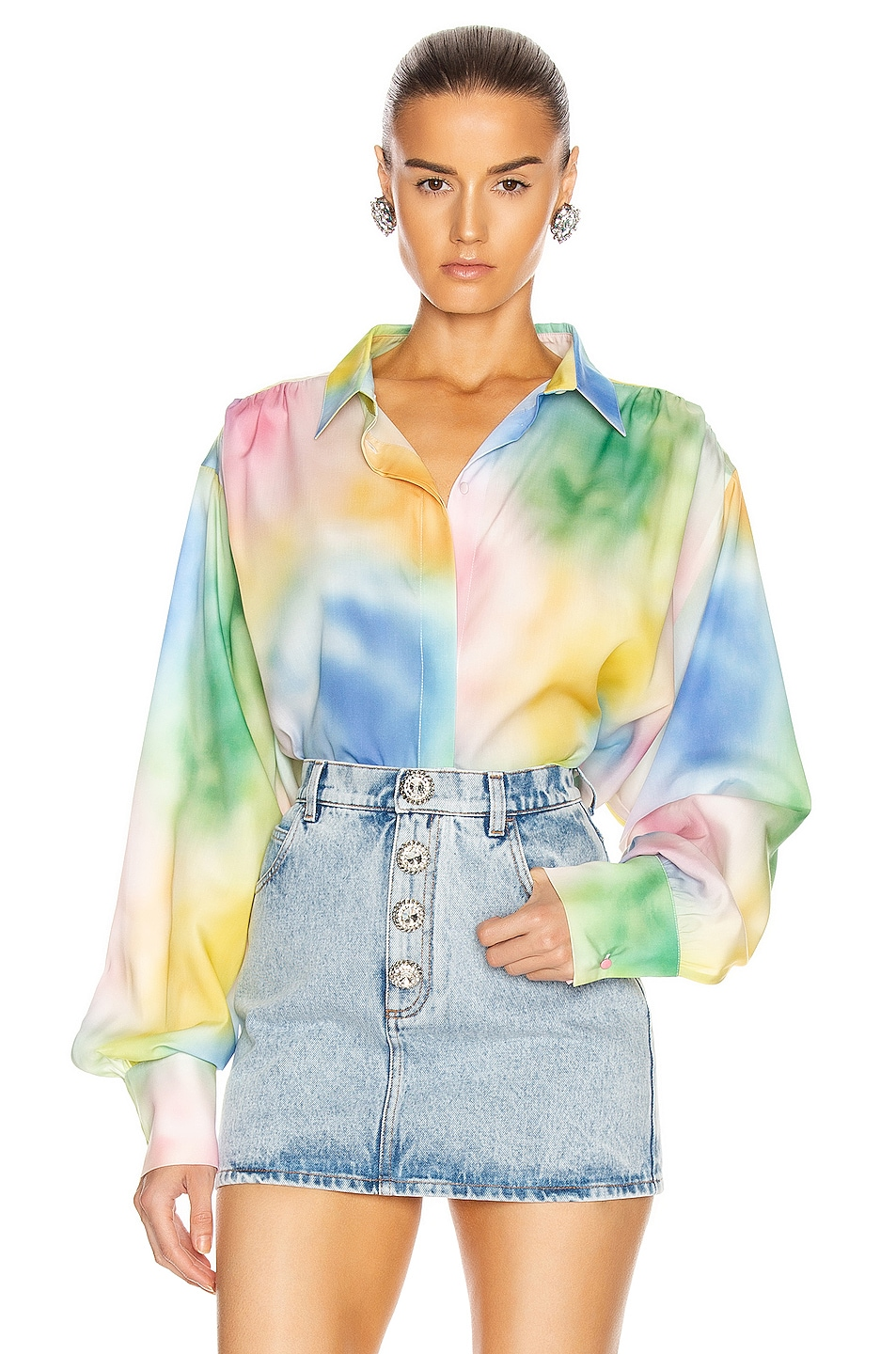 Image 1 of ATTICO Printed Oversized Button Down Blouse in Pastel Multicolor