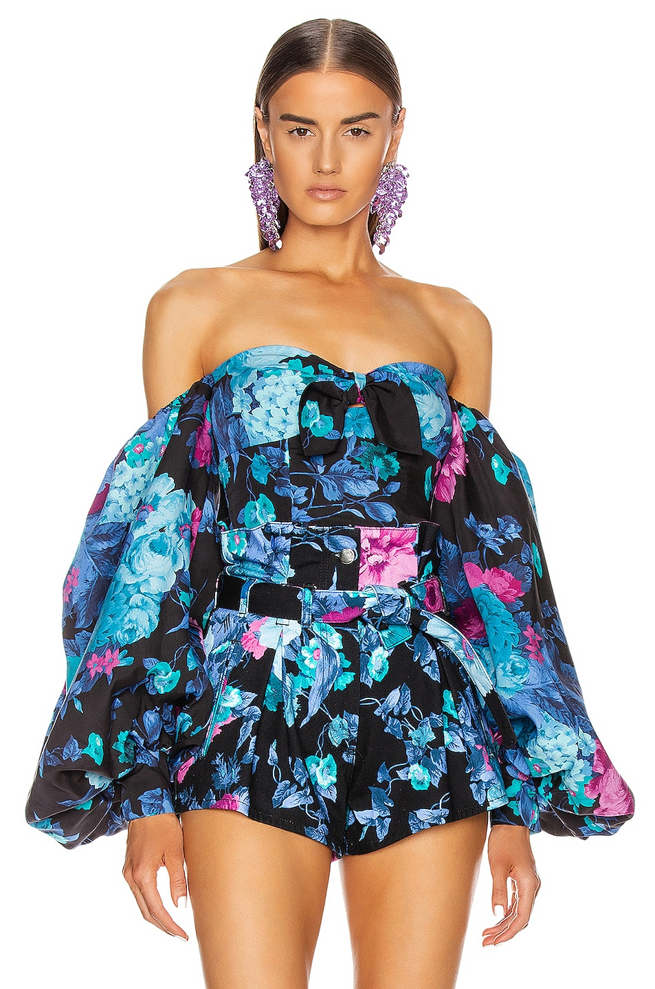Image 1 of ATTICO Printed Tie Top With Balloon Sleeves in Blue & Mauve