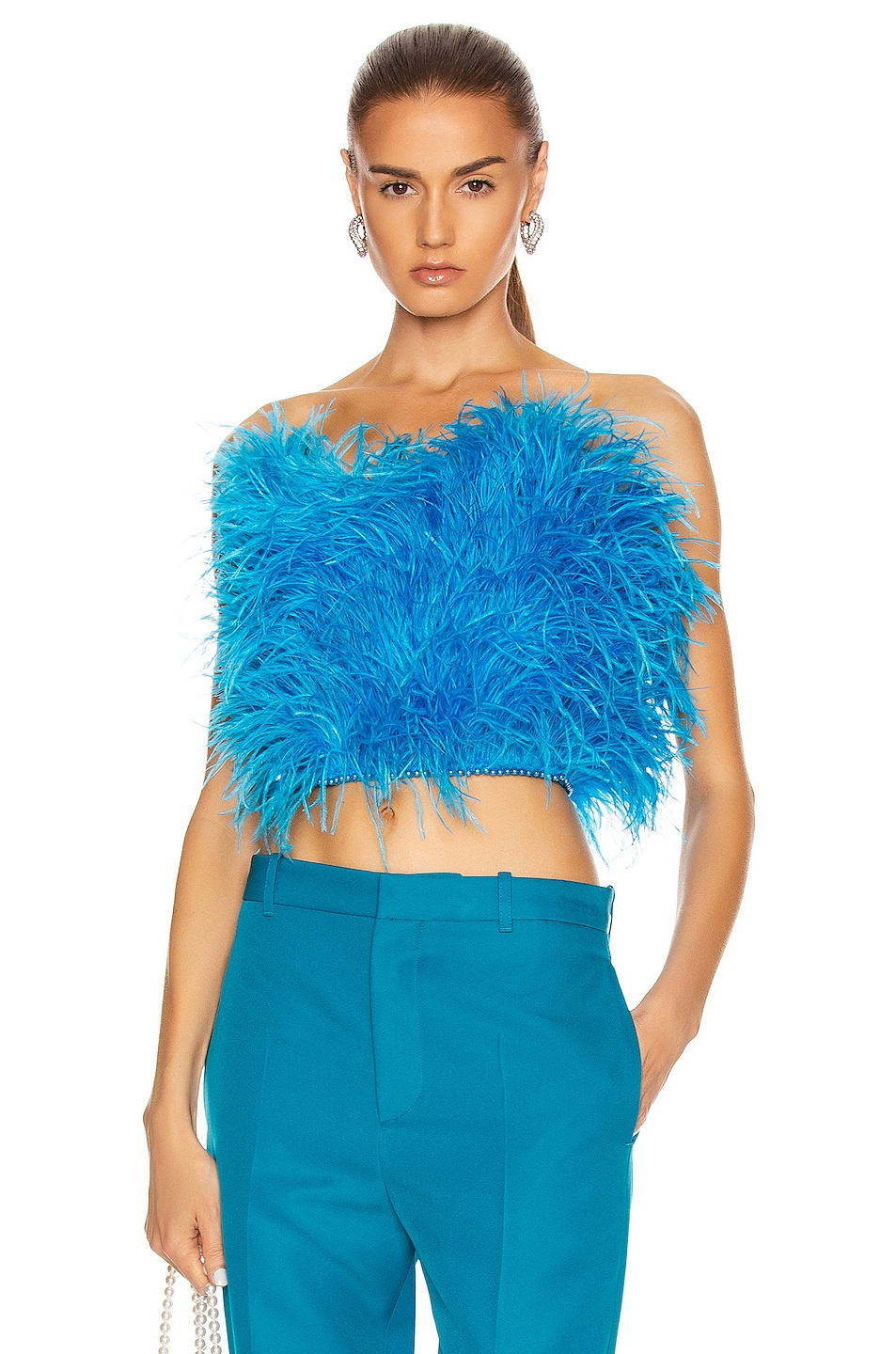 Image 1 of ATTICO Ostrich Feather Strapless Top in Turquoise