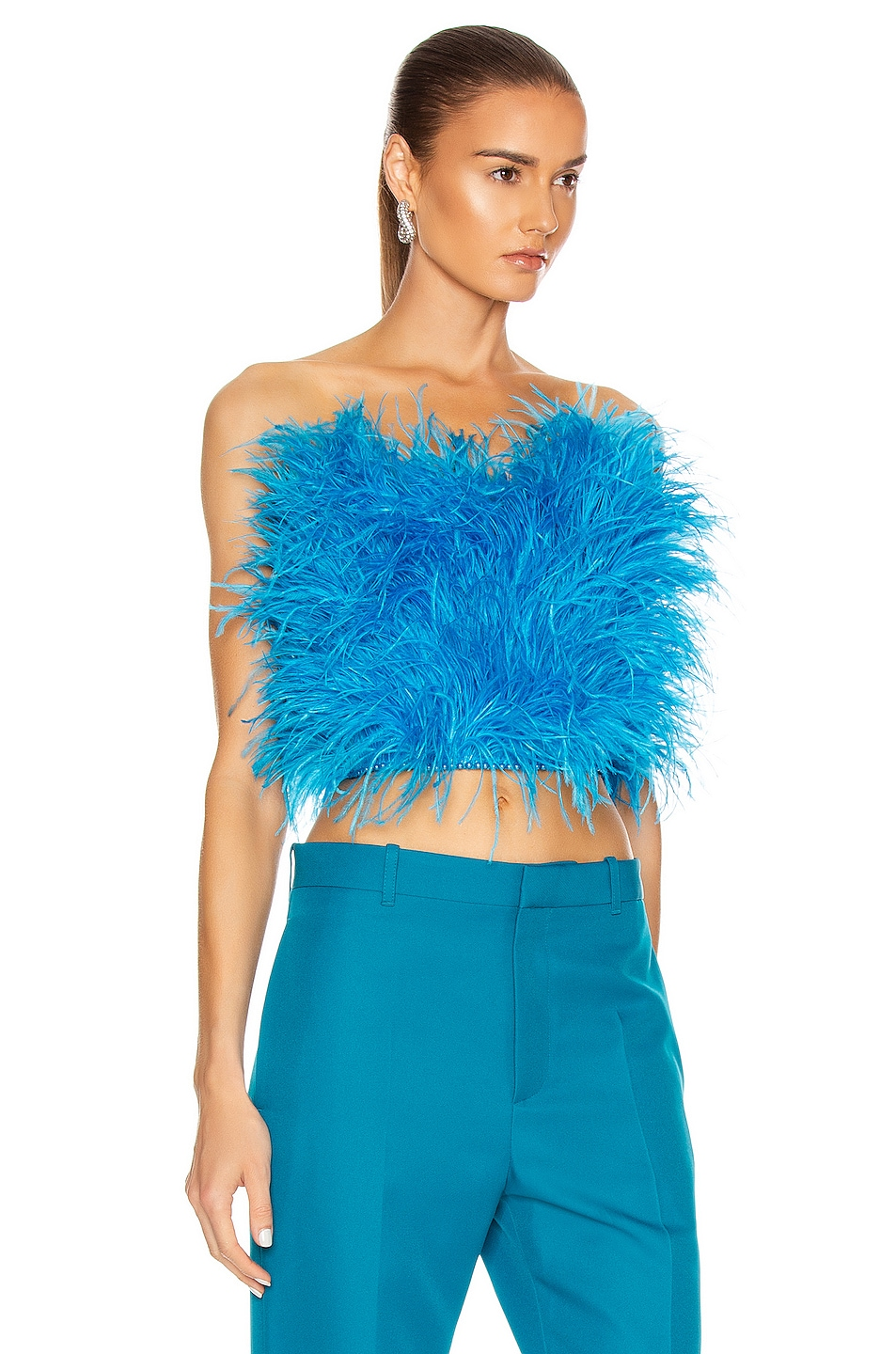 Image 2 of ATTICO Ostrich Feather Strapless Top in Turquoise