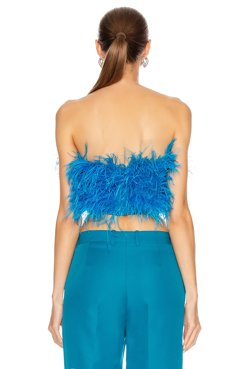 Image 3 of ATTICO Ostrich Feather Strapless Top in Turquoise