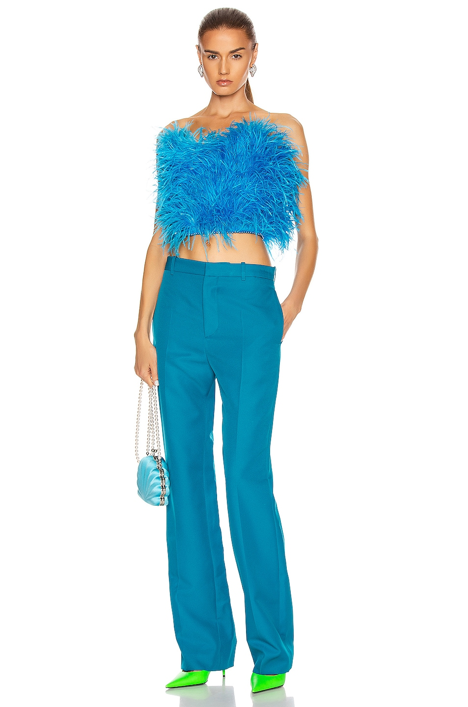 Image 4 of ATTICO Ostrich Feather Strapless Top in Turquoise