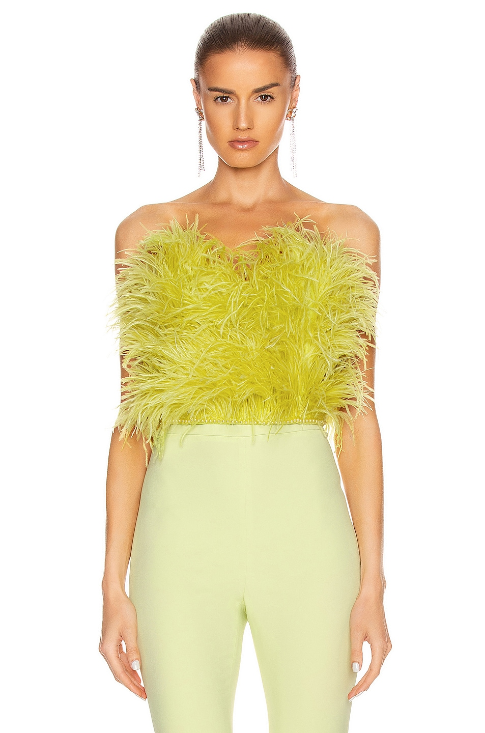 Image 1 of ATTICO Ostrich Feather Strapless Top in Lime