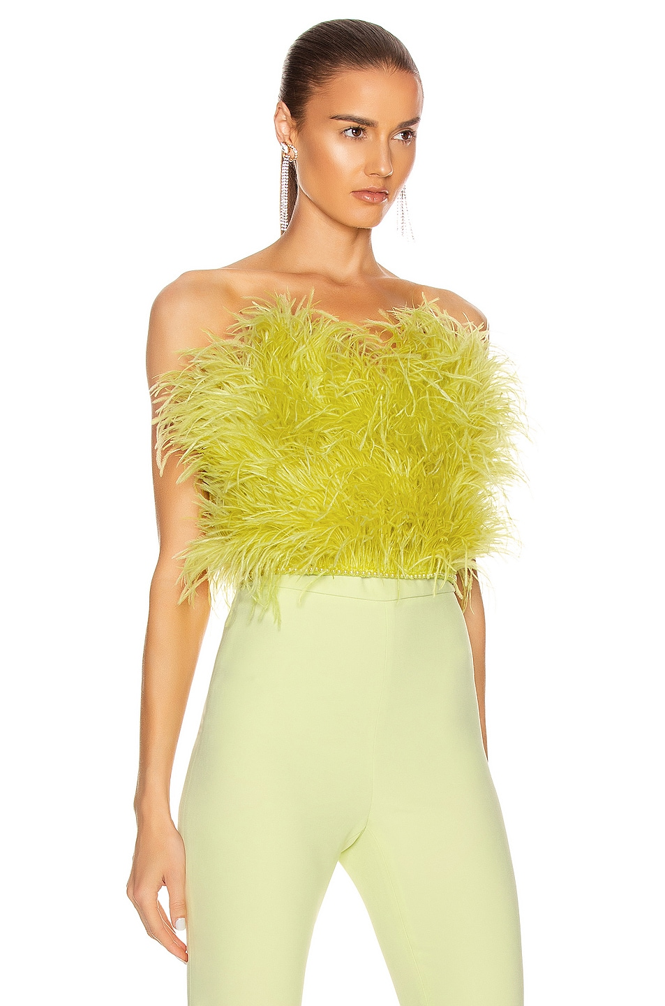 Image 2 of ATTICO Ostrich Feather Strapless Top in Lime