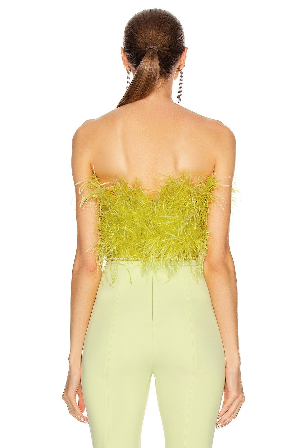 Image 3 of ATTICO Ostrich Feather Strapless Top in Lime