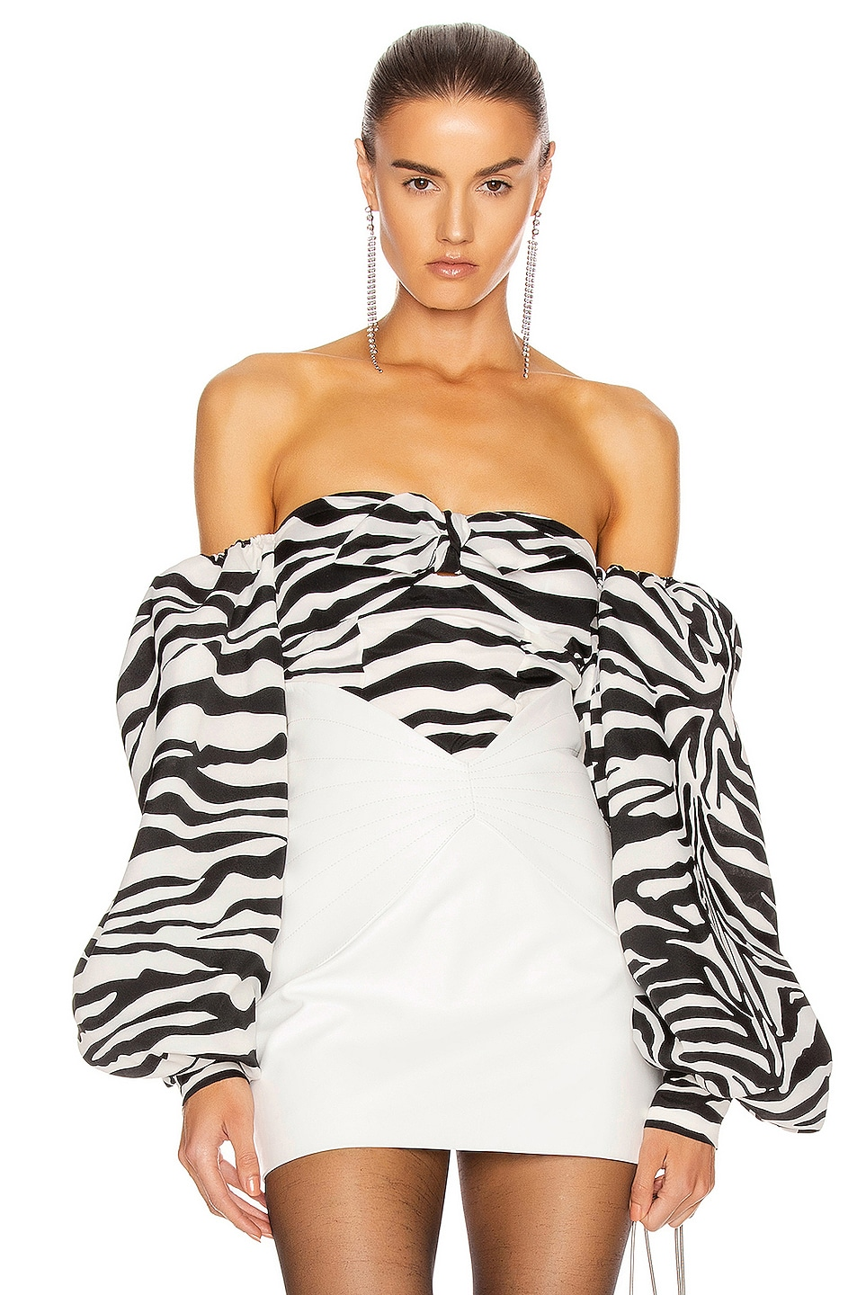 Image 1 of ATTICO Balloon Sleeve Tie Top in Zebra
