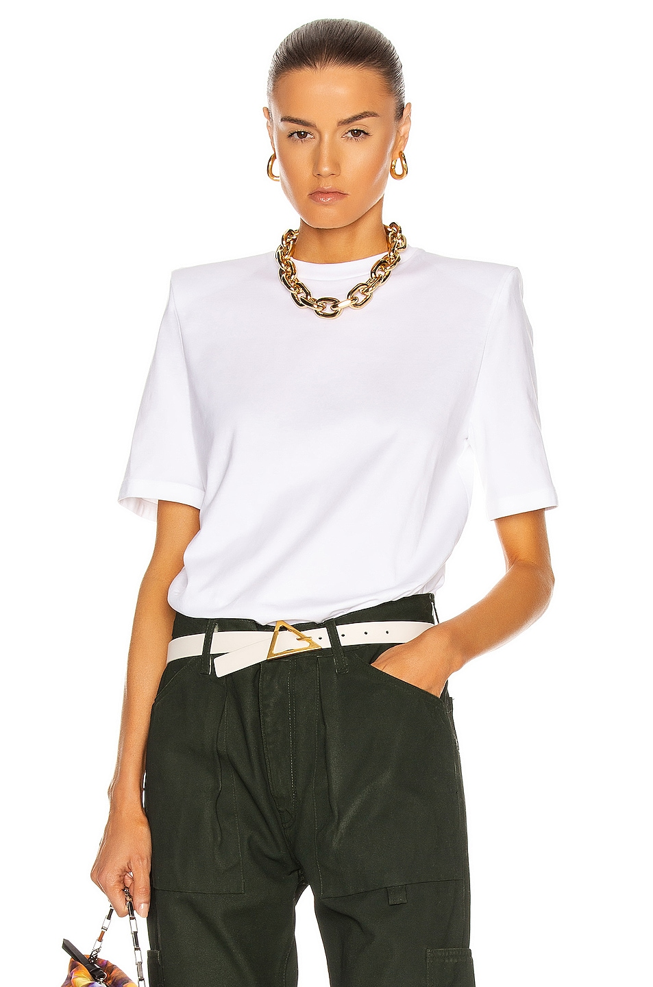 Image 1 of THE ATTICO Bold Shoulder T-Shirt in White