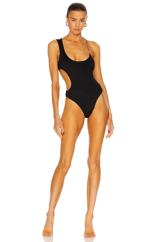 Image 1 of THE ATTICO Chain Neck Swimsuit in Black