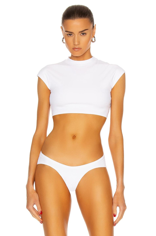 Image 1 of THE ATTICO Cap Sleeve Bikini Top in White
