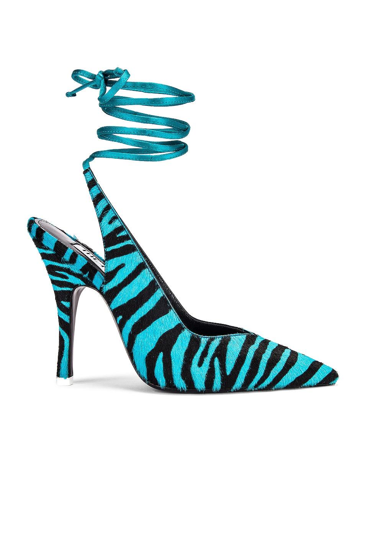 Image 1 of ATTICO Zebra High Heel Slingback in Black & Electric Blue