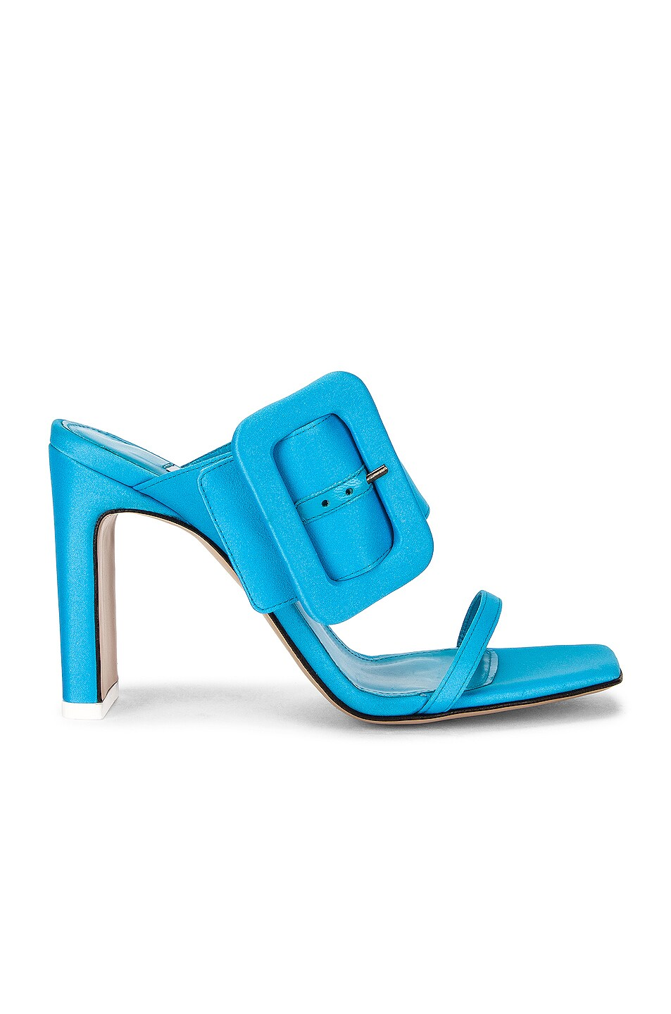 Image 1 of THE ATTICO Satin Buckled High Heel in Sky Blue