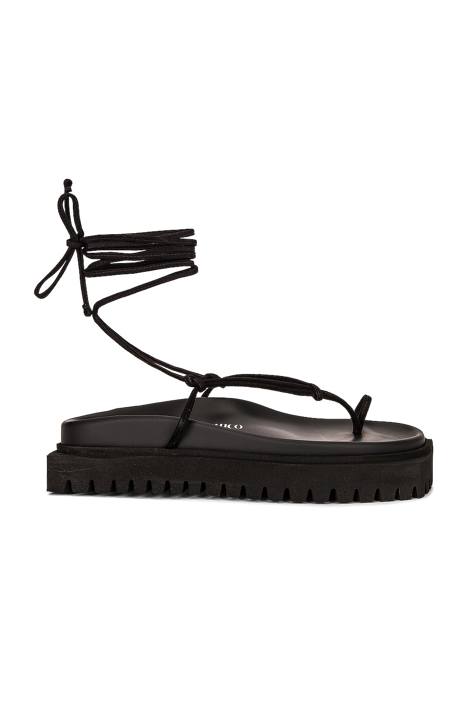 Image 1 of THE ATTICO Flat Lace-Up Thong Sandal in Black