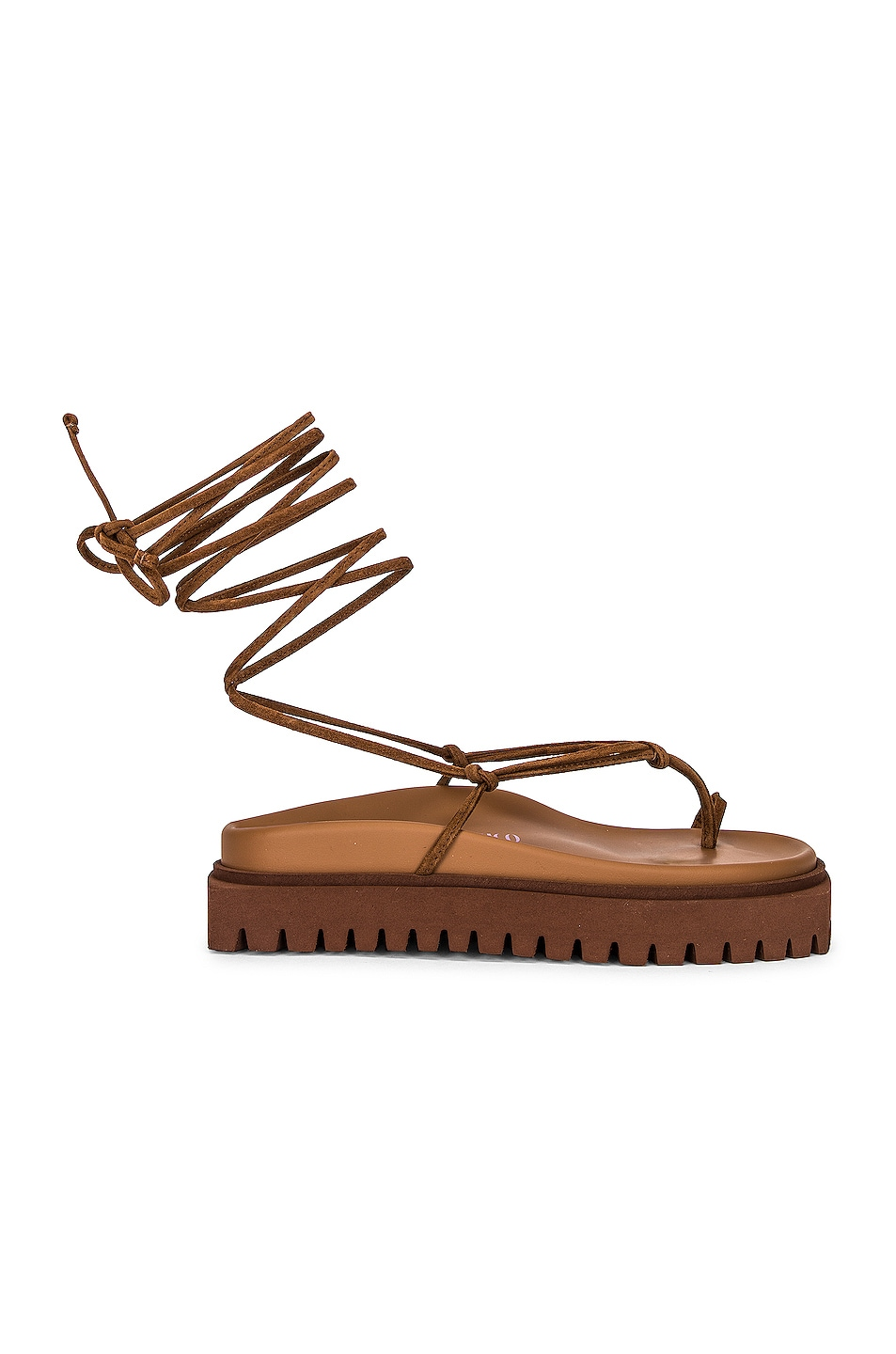 Image 1 of THE ATTICO Renee Lace Up Thong Sandal in Cigar