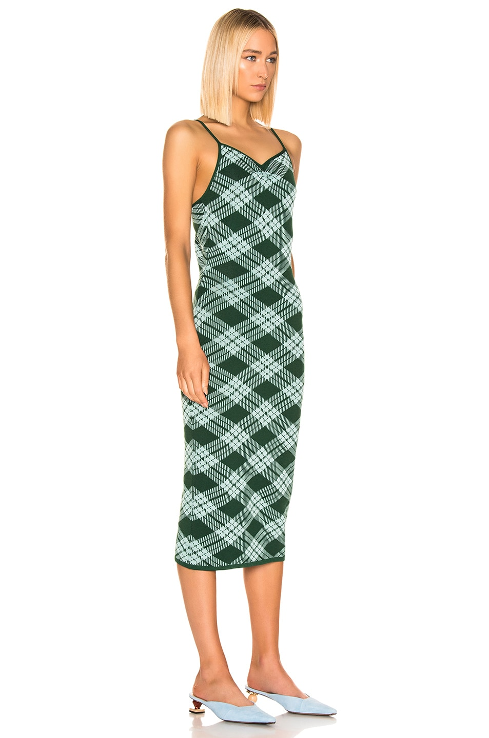 Image 2 of ALEXACHUNG Plaid Midi Dress in Green & Mint