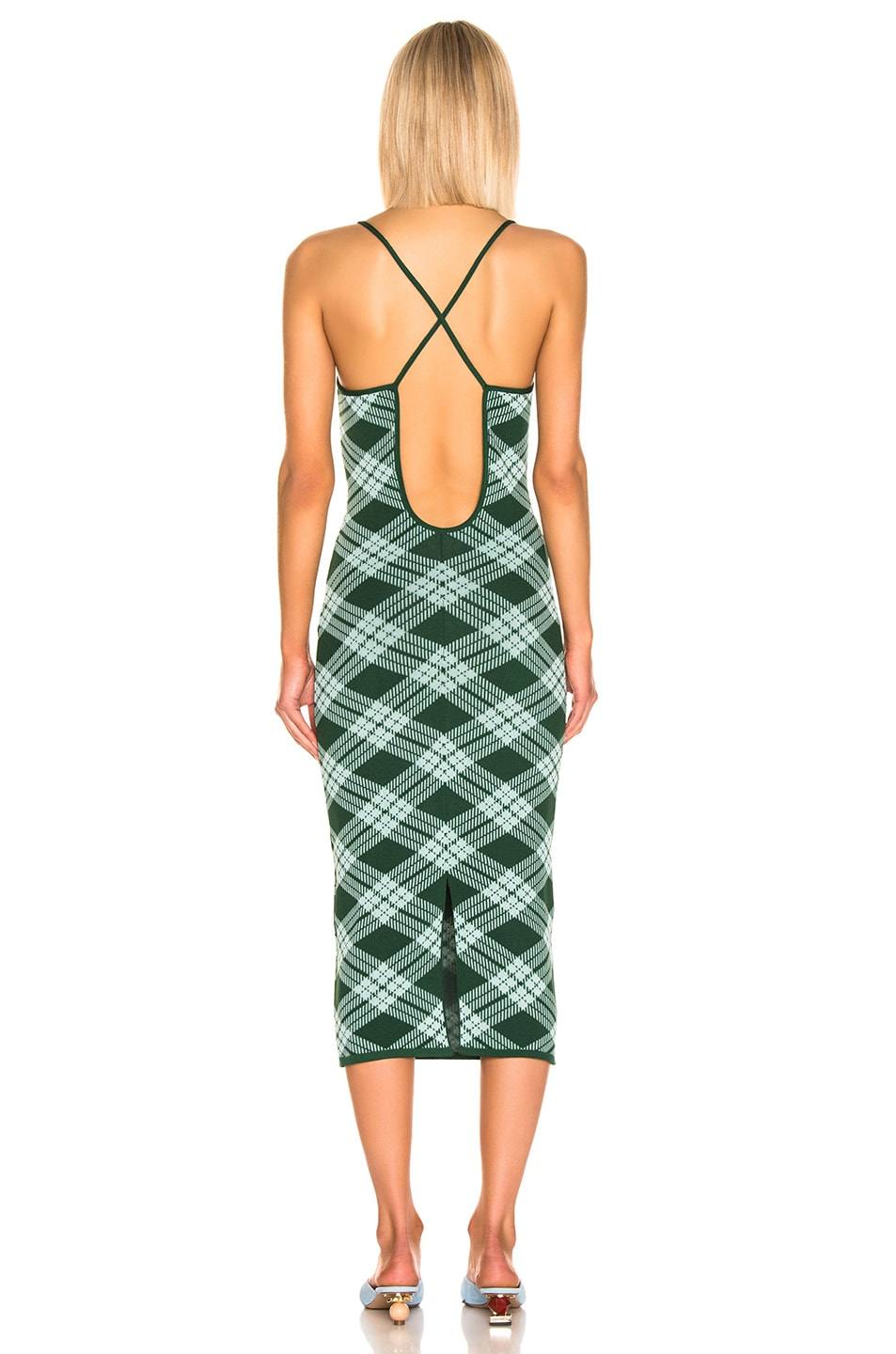 Image 3 of ALEXACHUNG Plaid Midi Dress in Green & Mint