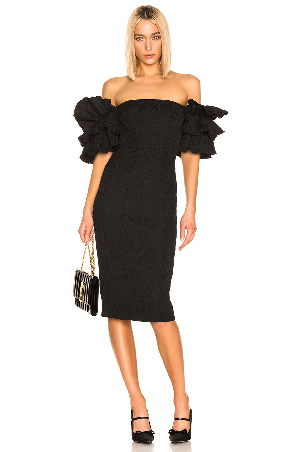 Image 1 of ALEXACHUNG Puff Sleeve Dress in Black