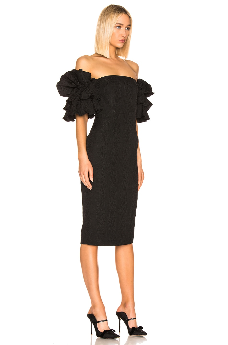 Image 2 of ALEXACHUNG Puff Sleeve Dress in Black