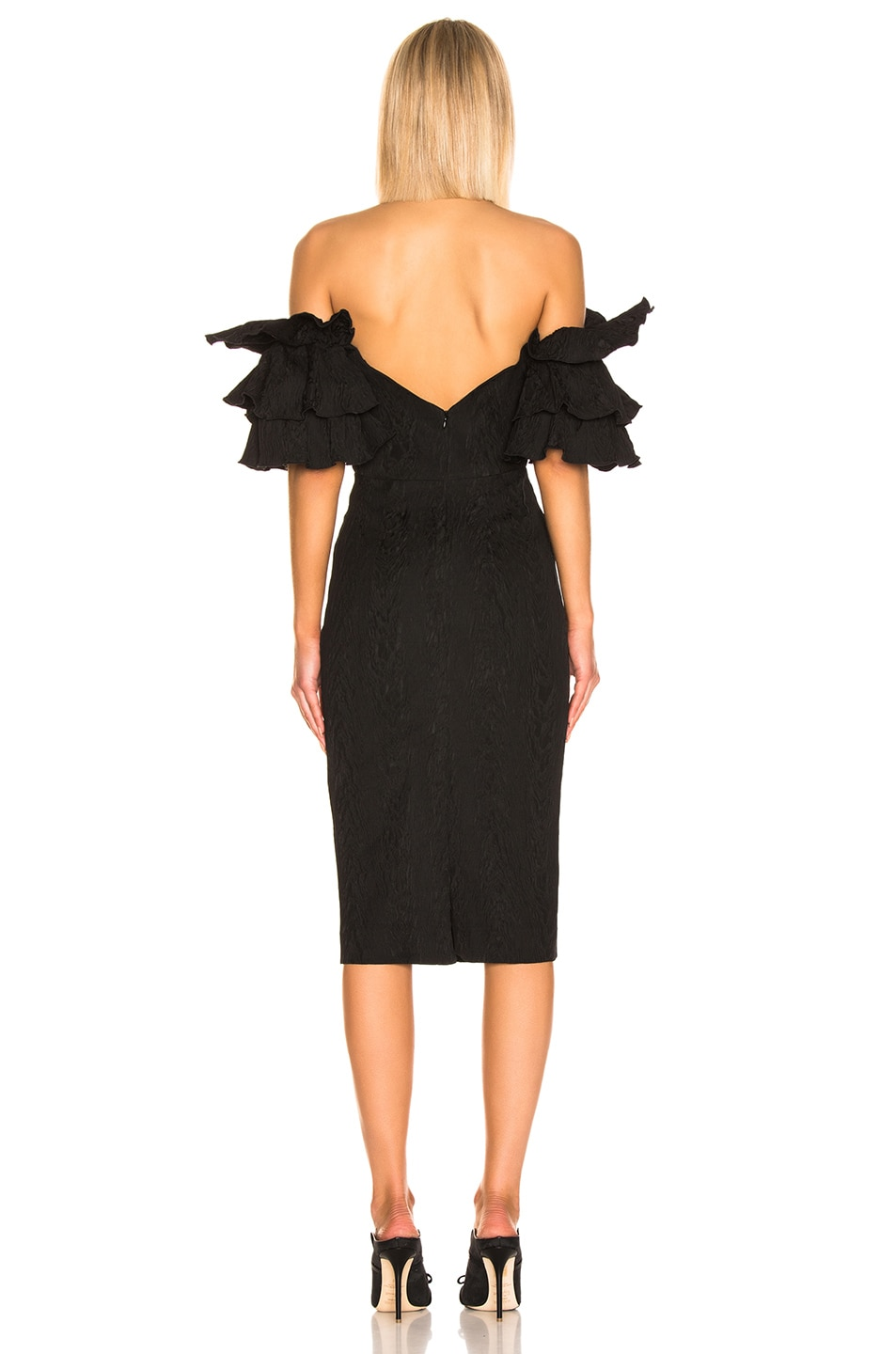 Image 3 of ALEXACHUNG Puff Sleeve Dress in Black