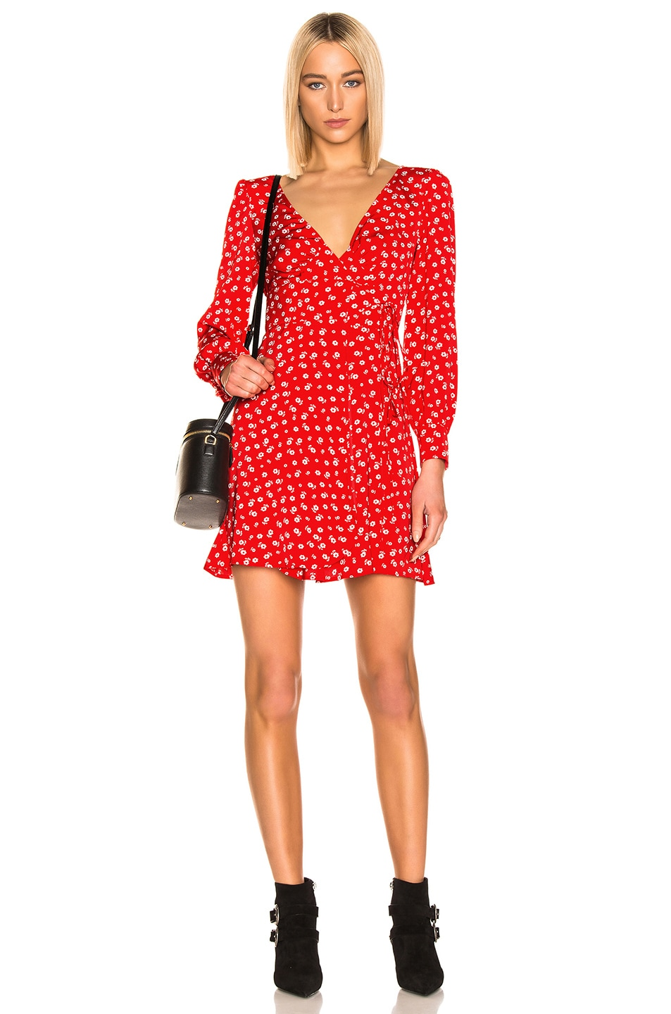 Image 1 of ALEXACHUNG Double Tie Wrap Dress in Red