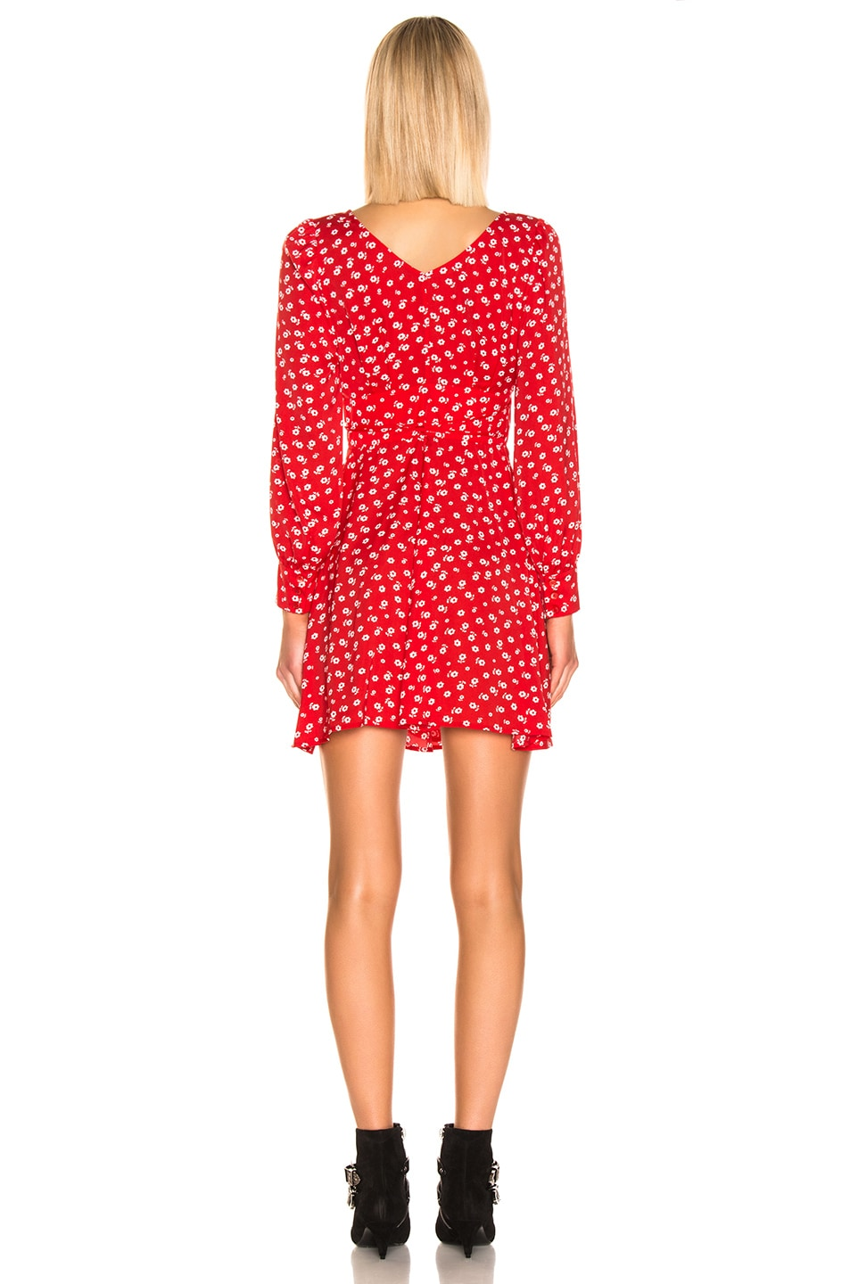 Image 3 of ALEXACHUNG Double Tie Wrap Dress in Red