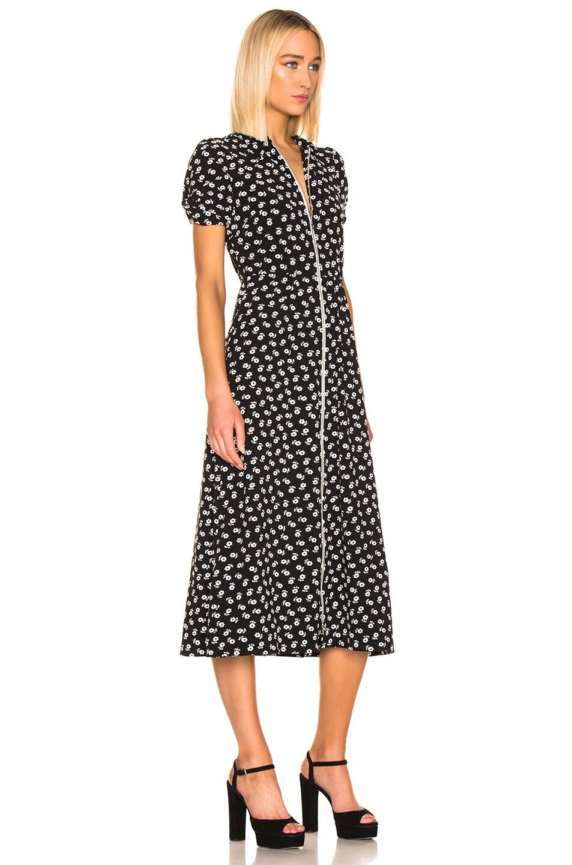 Image 3 of ALEXACHUNG Puff Sleeve Zip Through Dress in Black & Cream