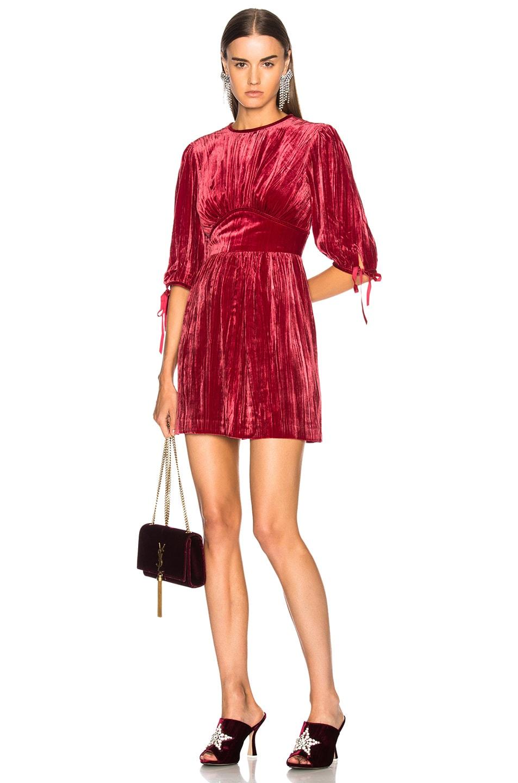ALEXACHUNG Velvet Flute Sleeve Dress in Red