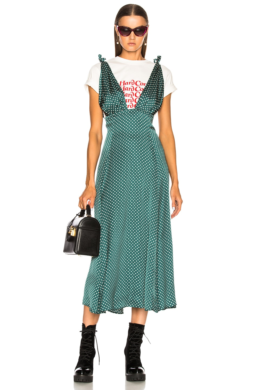 ALEXACHUNG Scarf Dress in Geometric Print,Green