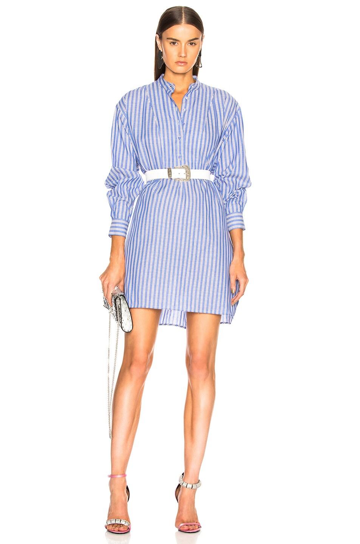 ALEXACHUNG Grandad Collar Shirt Dress in Blue,Stripes