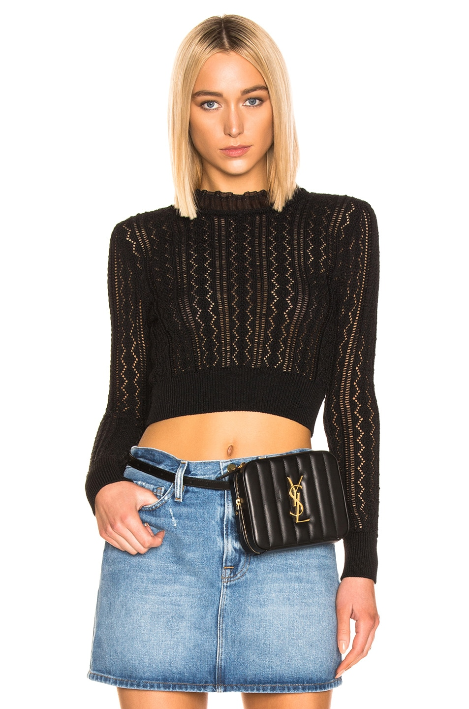 Image 1 of ALEXACHUNG Cropped Crew Neck Sweater in Black