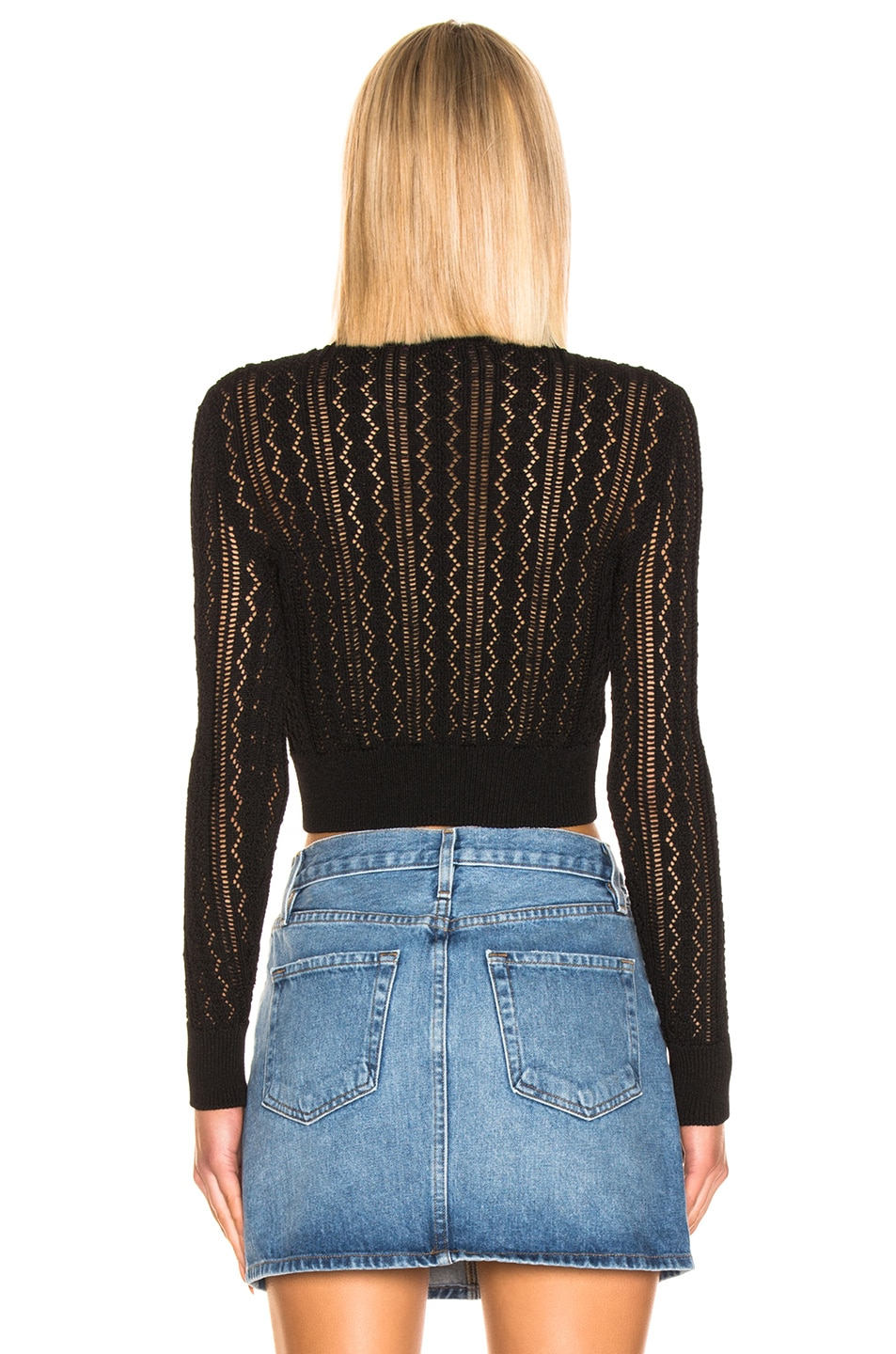 Image 3 of ALEXACHUNG Cropped Crew Neck Sweater in Black