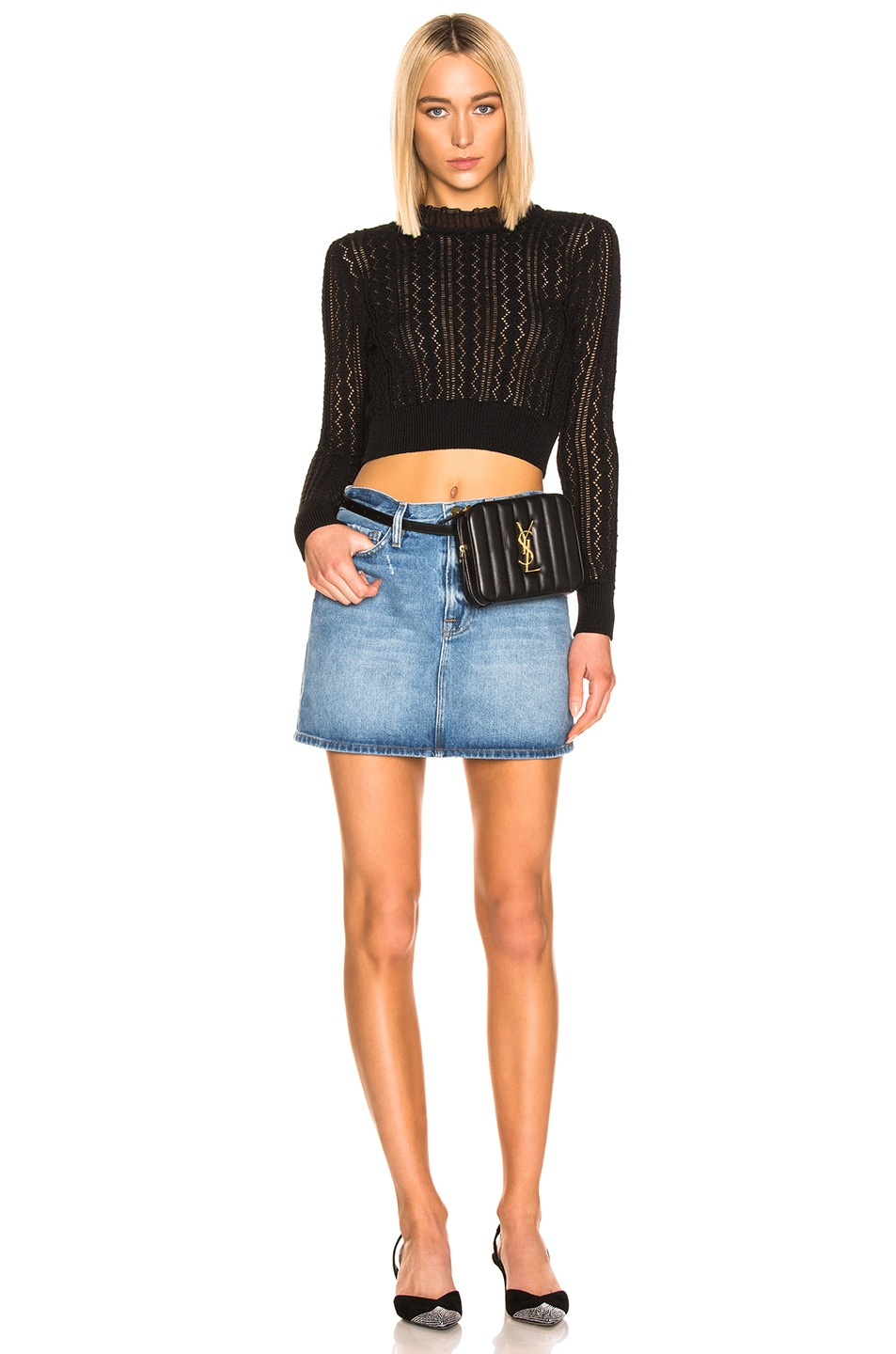 Image 4 of ALEXACHUNG Cropped Crew Neck Sweater in Black