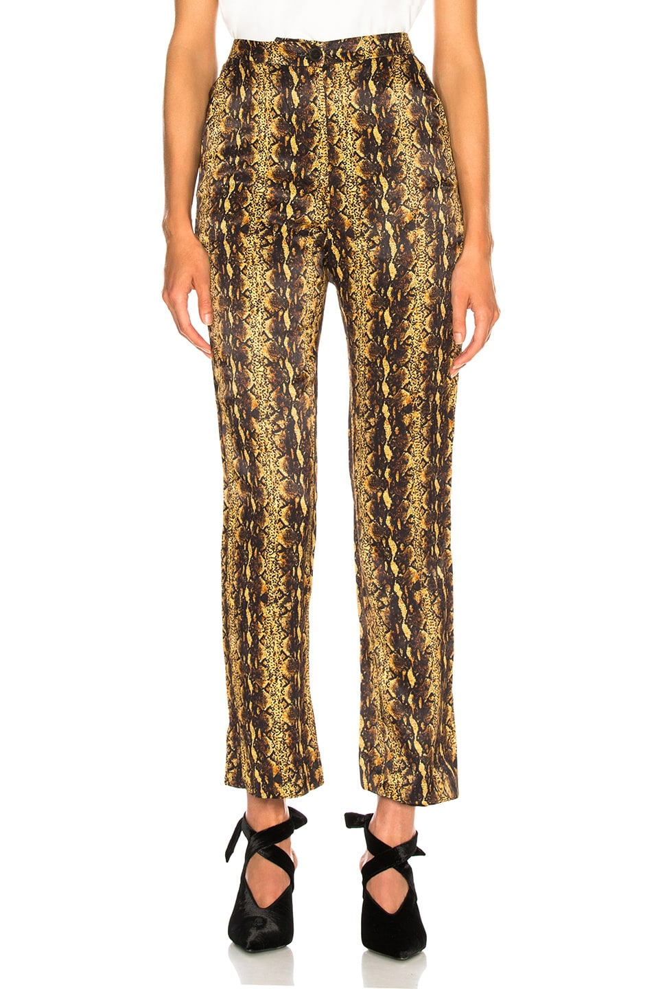 Image 1 of ALEXACHUNG Tailored Crop Flare Trouser in Gold