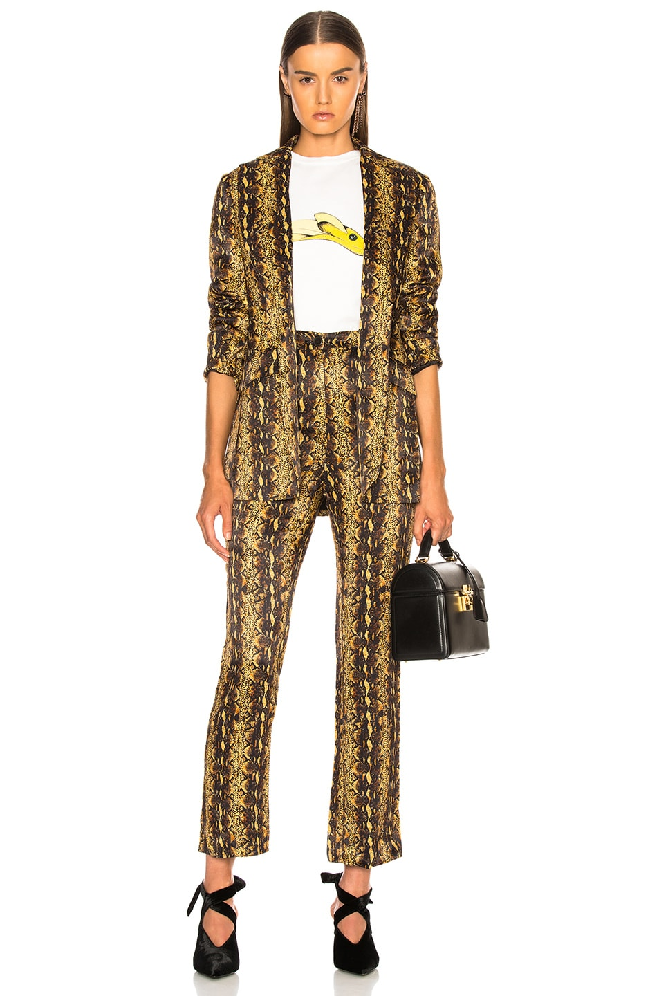 Image 4 of ALEXACHUNG Tailored Crop Flare Trouser in Gold
