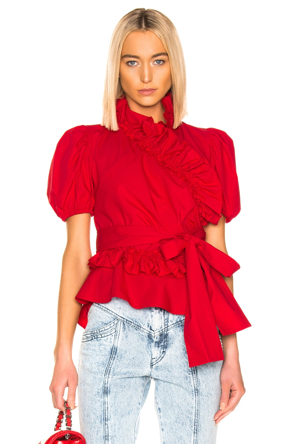 Image 1 of ALEXACHUNG Wrap Top in Red