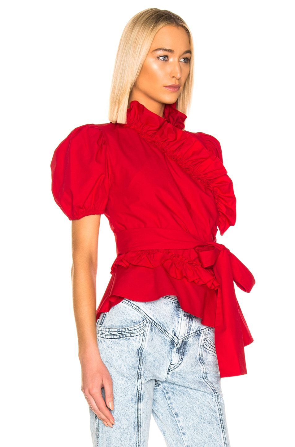 Image 2 of ALEXACHUNG Wrap Top in Red