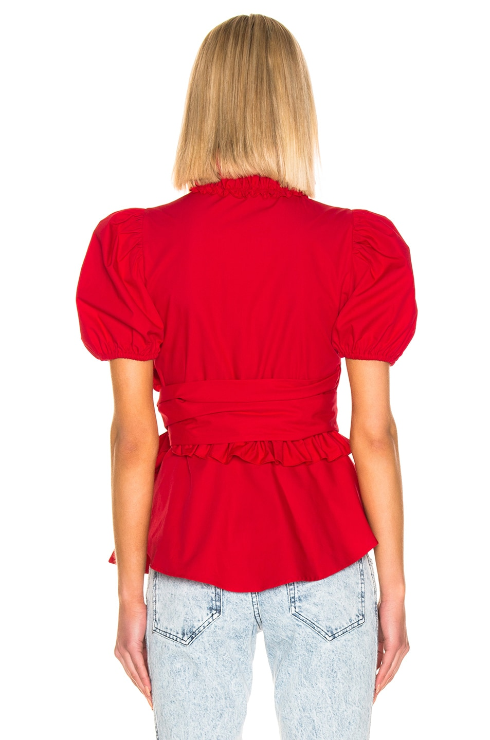 Image 3 of ALEXACHUNG Wrap Top in Red