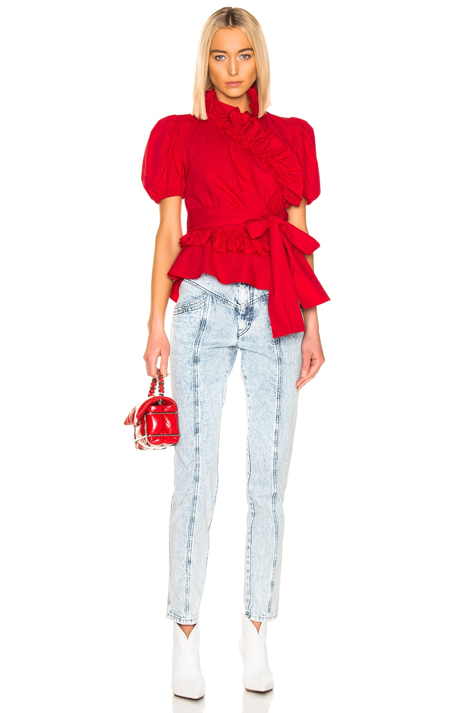 Image 4 of ALEXACHUNG Wrap Top in Red