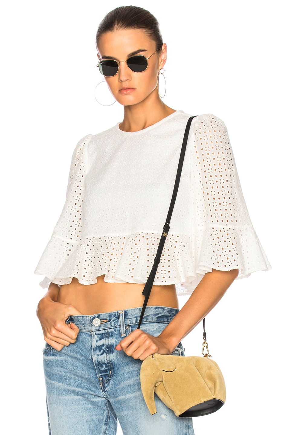 ALEXACHUNG Cropped Frill Top in White